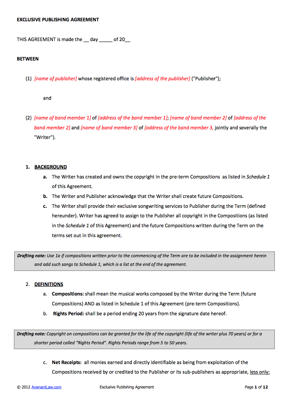 Music publishing contract template for 360 deal contract template