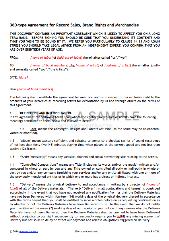 360 deal contract templates see a sample for Musicians contract template