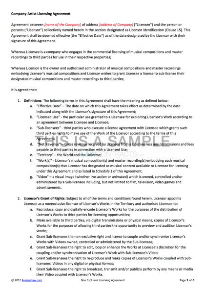 Non exclusive licensing contract template for Product license agreement template