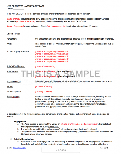 live promoter artist contract template. Black Bedroom Furniture Sets. Home Design Ideas