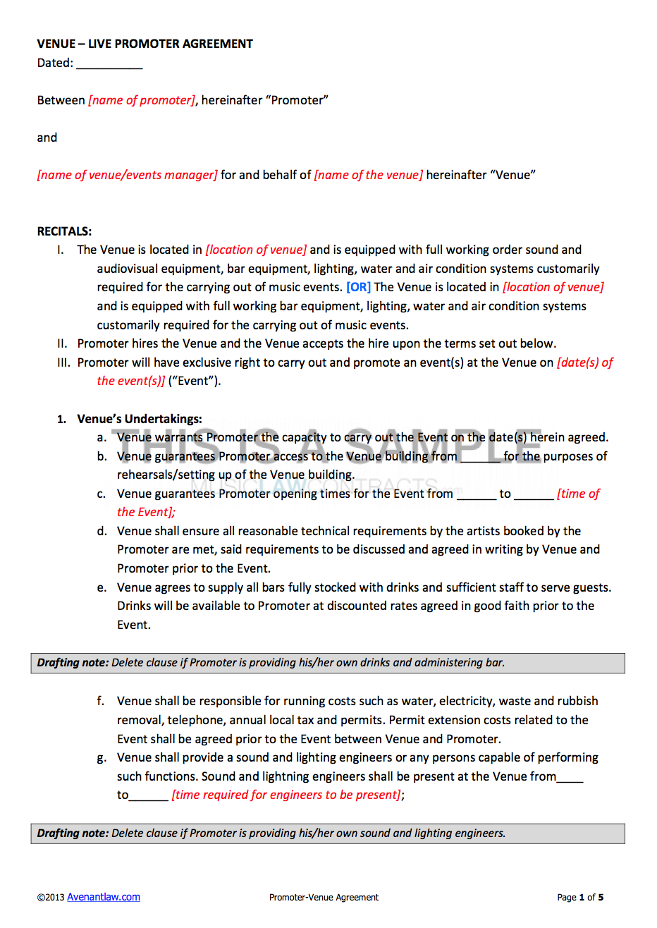 Promoter Venue Contract Template