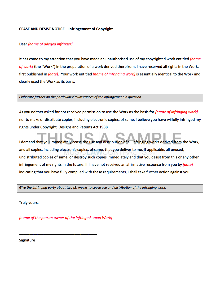Music Law Contracts  Letter Of Cease And Desist Template