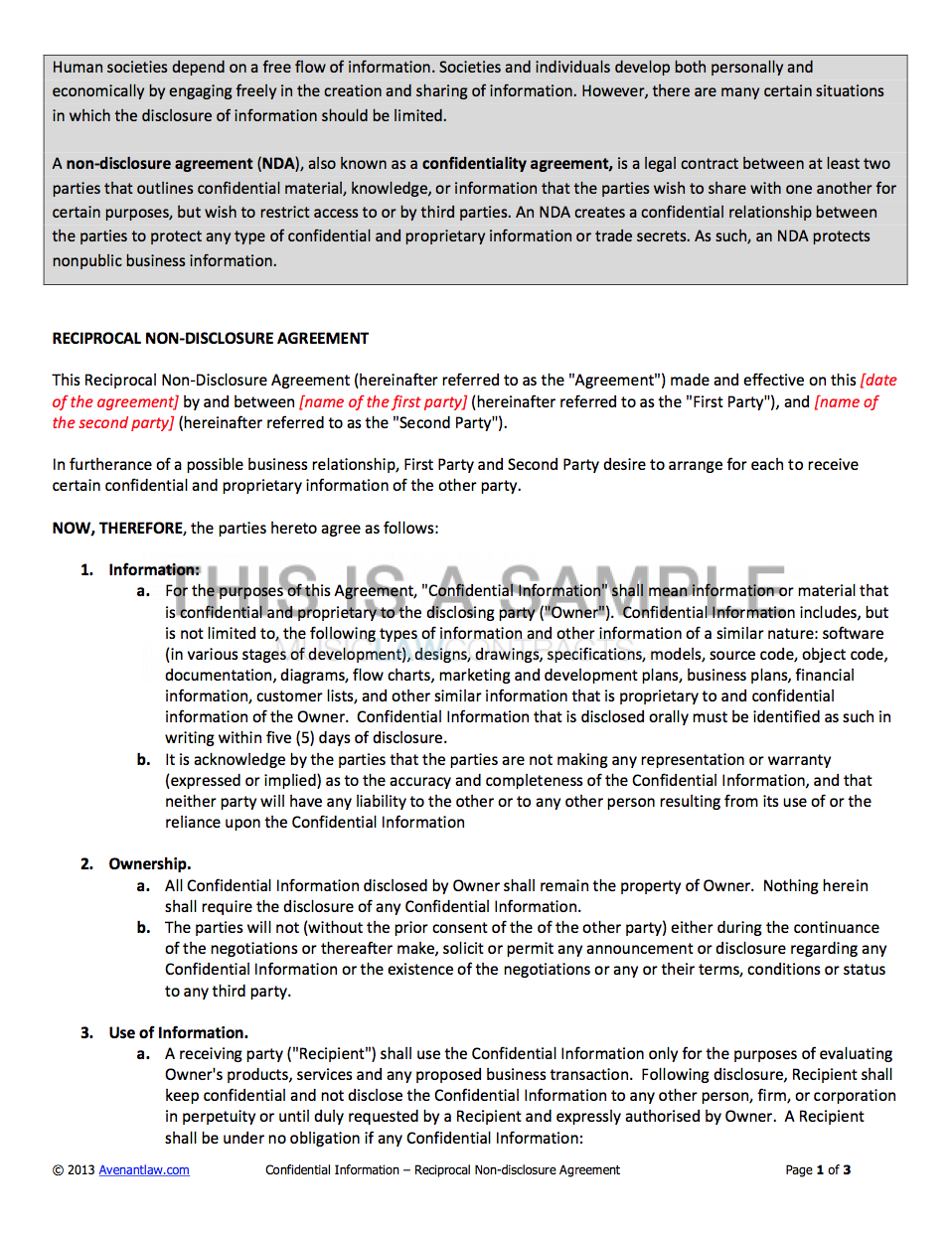 NonDisclosure Agreement NDA Template - Nda agreement template word