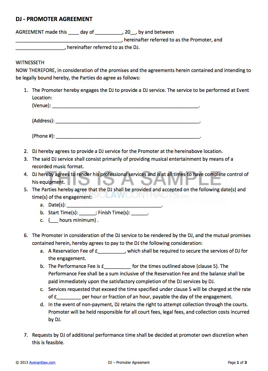 Dj Promoter Contract Template For Hiring A Dj